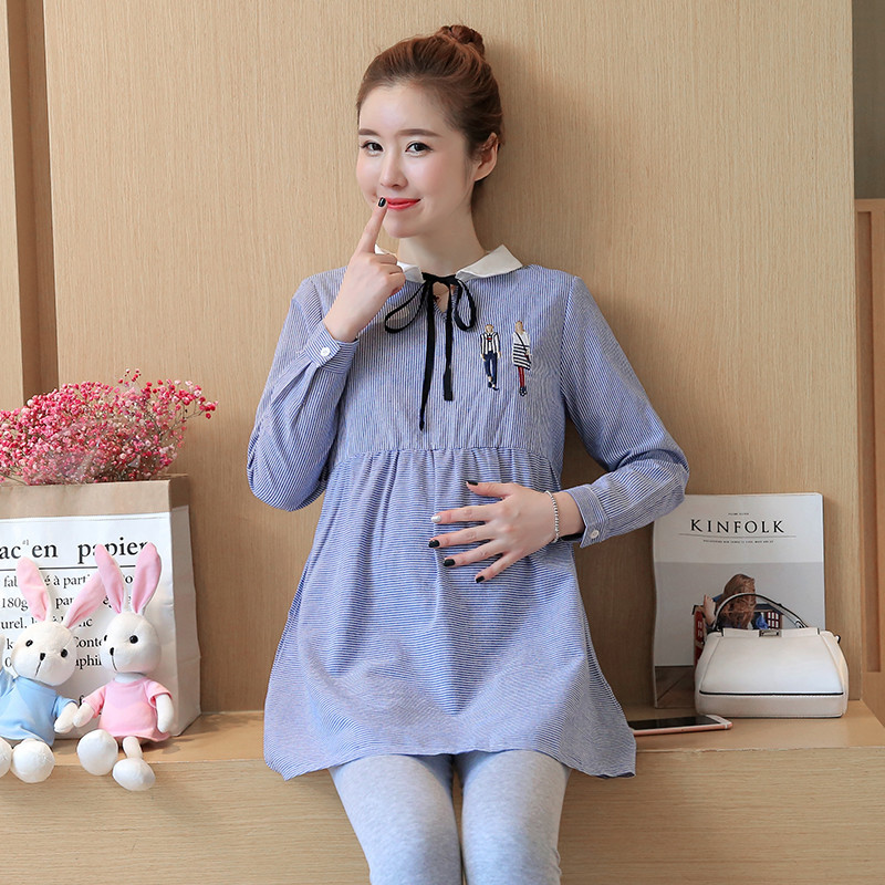 2018 Korean Pregnant Women Fashion Turn Down Collar Long Sleeve Plus Size Striped Blouse Tees Maternity Pregnancy Shirts Cotton chic scoop collar long sleeve hit color plus size dress for women