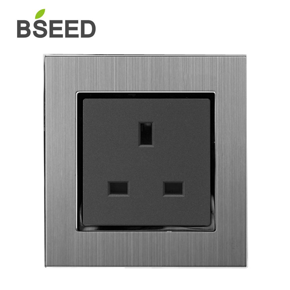 BSEED Luxury UK Style Standard Wall Socket 13A 110-250V Decorative Plug Power Satin Metal Silver Panel