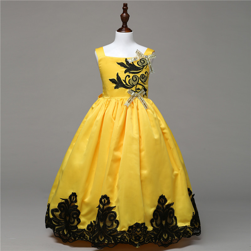 Formal Girls Party Bow Dresses Flower Embroidery Child Halloween Party Rapunzel Aurora Belle Cosplay Costume Show Dresses 5-14Y 4pcs gothic halloween artificial devil vampire teeth cosplay prop for fancy ball party show