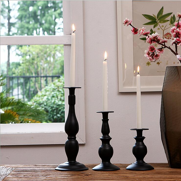 Black Candle Holder Metal White Candlestick Lantern Iron Candle Stand Candelabra Centerpieces Wedding Decoration Mariage