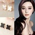 Promotion Titanium Нержавеющей Пару черно-белый удачи клевер Shell Серьги для любителей colorfull rose золотые серьги