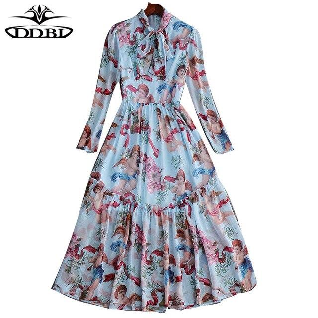 e8e610e23073 angels print blue dress bow neck dresses with long sleeves 2018 spring  dresses for women 171129