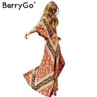 BerryGo Sexy Print Lace Up Side Split Dress Women Deep V Neck Ruffle Sleeve Dress Casual