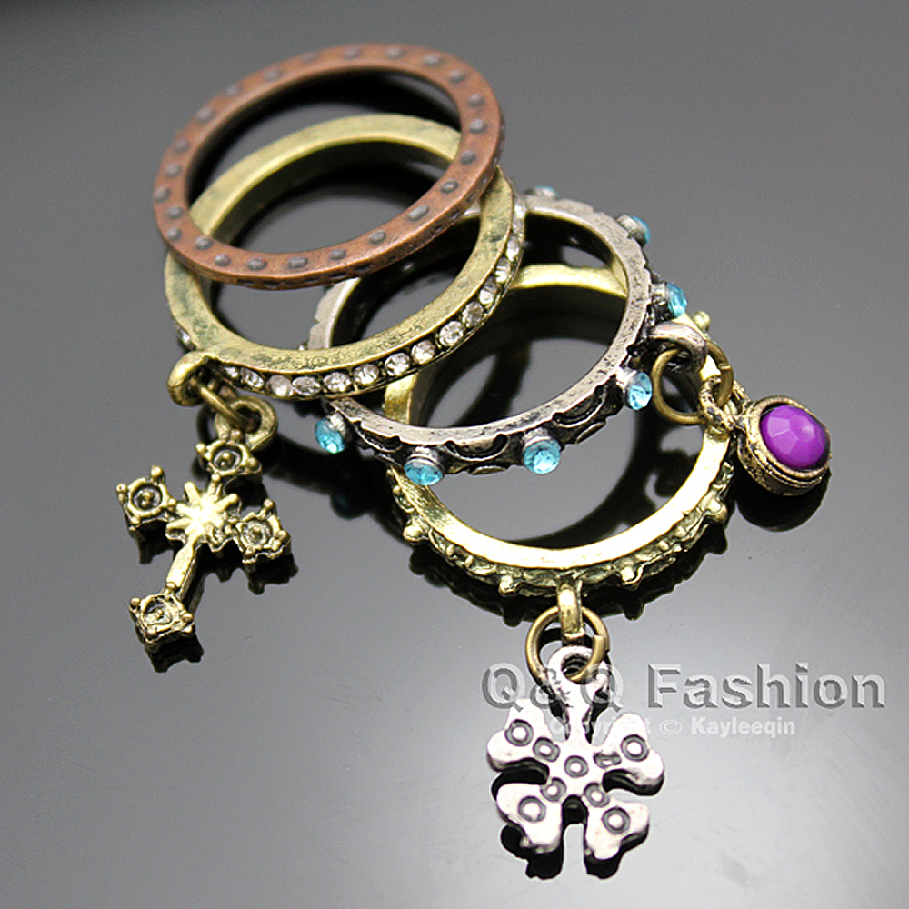 Pack of 4 Vintage Bronze Snowflake Cross Crystal Carved Stacking Delicate Midi Finger Ring Set Gift Jewelry
