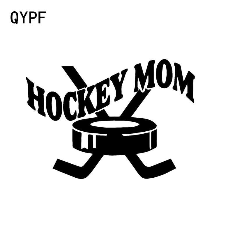 QYPF 14.2cm*10cm Car Styling Mom Hockey Sports Fashion Vinyl Car Stickers Black Silver S2-0643