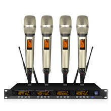 Professional wireless conference system, UHF microphone, four-channel family karaoke