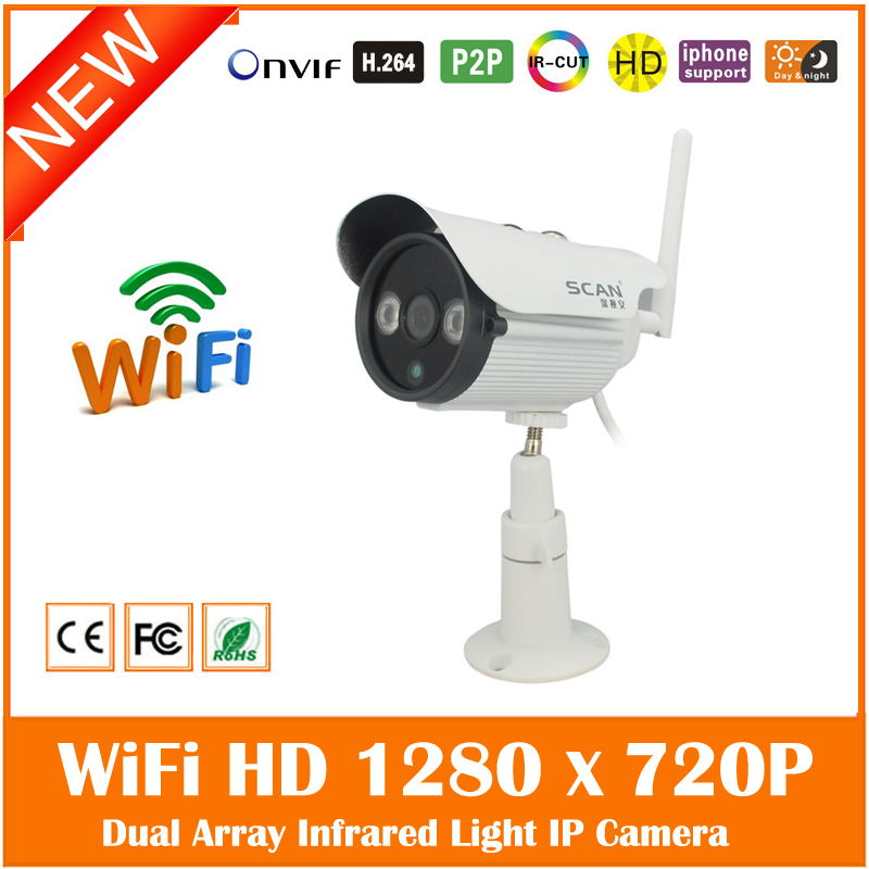 1.0mp 720p Wi Fi Bullet Ip Camera Outdoor Onvif 2.0 Security Surveillance White Webcam Waterproof Cctv Freeshipping Hot Sale wistino white color metal camera housing outdoor use waterproof bullet casing for cctv camera ip camera hot sale cover case