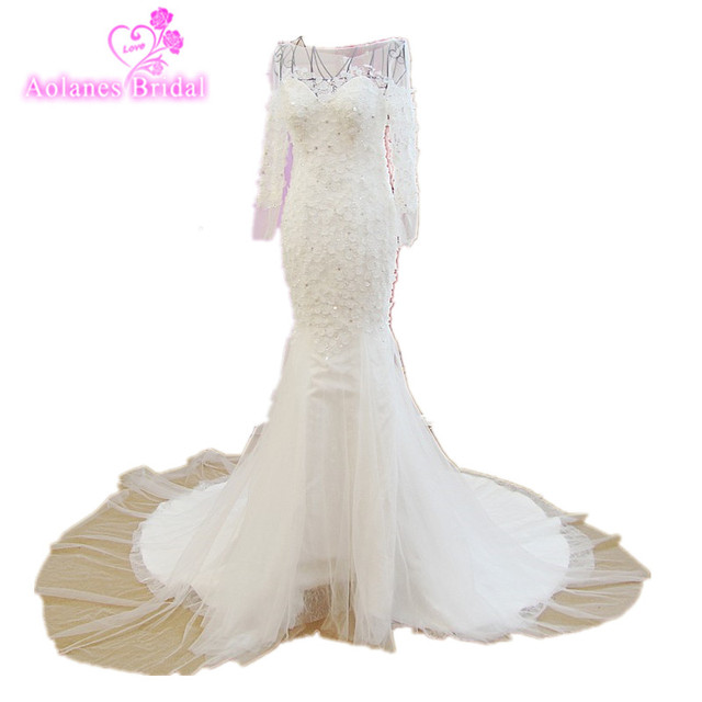 Vestido De Noiva See Back Mermaid Wedding Dress Long Sleeves Lace Beads 3d Flowers 2018 Vestido De Casamento Wedding Dress