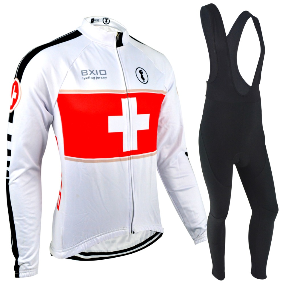 ФОТО Bxio Winter Cycling Jersey Sets White Bicycle Clothes Full Zipper Cycling Sets Pro Bike Riding Outdoor Sportwear BX-0108W-001