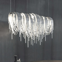 Modern Novelty Chandelier Light Luxury Tassel Chain LED Aluminum Chandeliers Suspension Light for Sitting Room Office Hotel