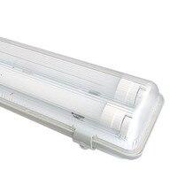 Pure White Waterproof 2pcs 4Feet(1.2M) 18 Watt Double LED T8 Tube With Tri proof Fixture AC100 245V LED T8 Tube Tri proof Light
