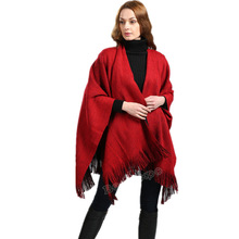 Reversible Womens Tassels Decor Clock Solid Casual Cape Long Thick Scarves Tops