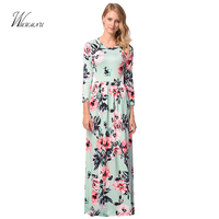 WMWMNU Autumn And Winter Round Collar Seven Split Sleeve Classic Bohemia Trailing Dress Dress And Ancient