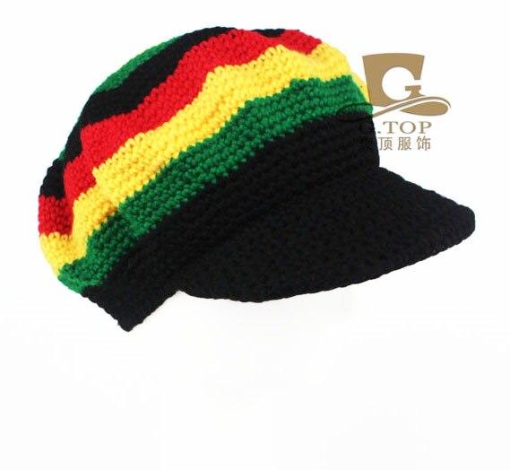 Rasta Hat Beanies Knit Hats Beret Crochet Slouchy Tam Reggae Jamaica Style Visor  Hat Unisex Hot f9c29f87c907