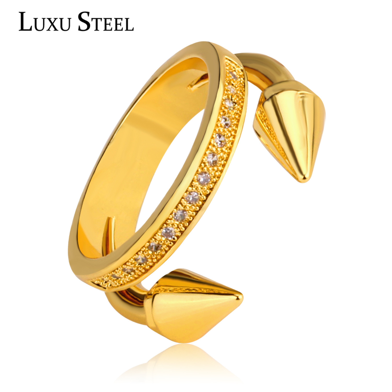 cool jewelry stainless steel arrow nail ring charm crystal wedding rings for women - Weird Wedding Rings