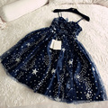 Hot Sale Navy Blue Spaghetti Strap Sparkly Star Sequined Sexy Cocktail Dresses Short Prom Party Gowns Vestidos De Festa GD212