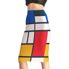 Women's Sexy Colorful Plaid Shape 3D Digtial Print Skirts High Waist Blue Package Hip Skirt S M L XL XXL XXXL XXXXL