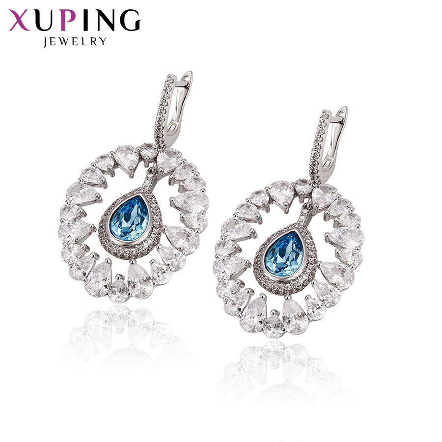 Xuping Jewelry Round Shape Dangle Earrings Lovely Crystals from Swarovski Romantic for Women Gifts S142.9-93899Xuping Jewelry Round Shape Dangle Earrings Lovely Crystals from Swarovski Romantic for Women Gifts S142.9-93899