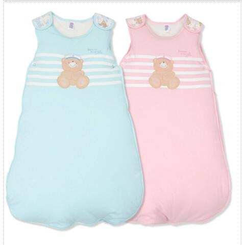 75fe92d3e8 Autumn Newborn Sleeveless Baby Sleeping Bag Embroidery Cartoon Bear 100%  Cotton Kids Warm Sleeping Bag