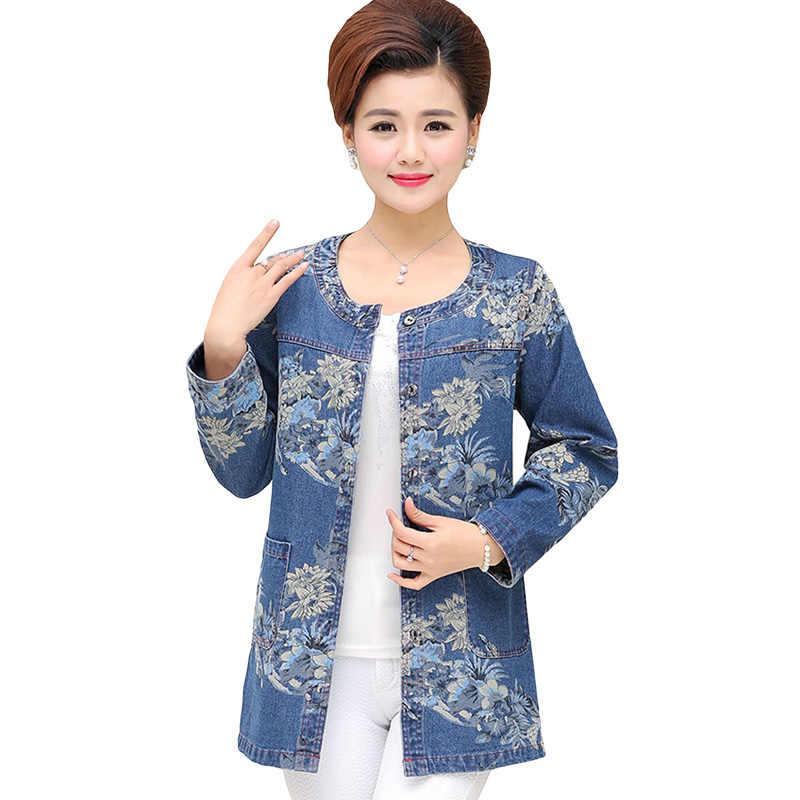 Plus Size Middle aged Women Clothing Denim Jacket Cotton Jeans Coat Casacos Femininos Ladies Printing Big Was Thin Denim Coats