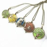 5 unids Owl Mixta de Bronce Antiguo Árbol de La Vida de Diseño de Cobre Medallón Imán Aceite Esencial Difusor de Aroma de Moda Colgante Collar de La Joyería