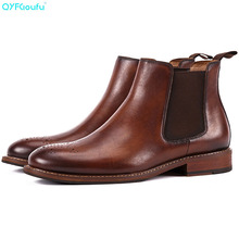 High Quality Autumn Winter European Style Men Fashion Ankle Boots Genuine Leather Cchelsea