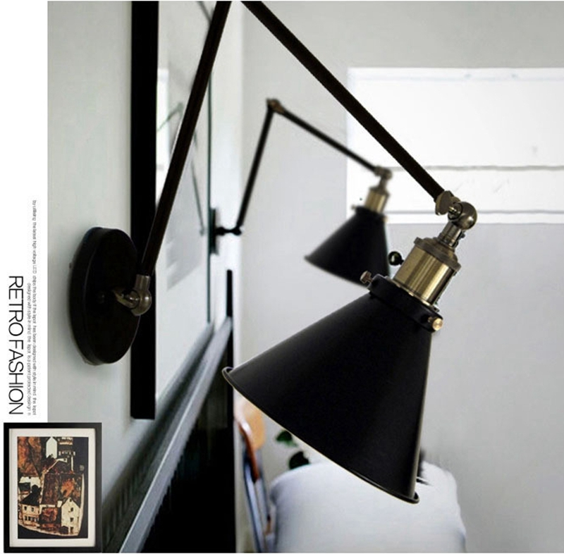 Industrial Vintage Wall Lamps Simple style Wall Lights Loft Little Umbrella Double Arm Bedside Lamp Restaurant Light Fixtures
