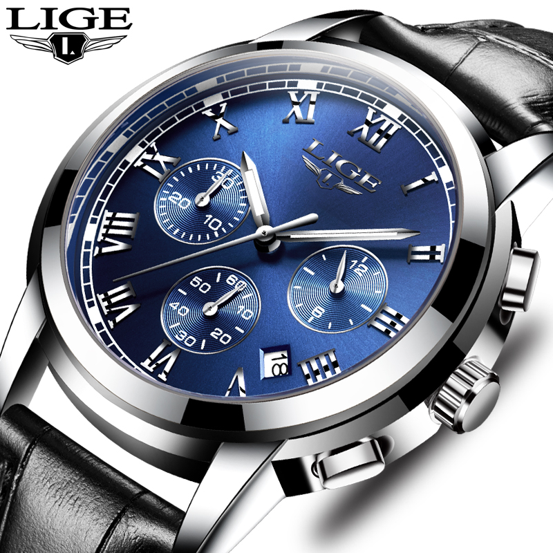 Mens watches top brand LIGE luxury Chronograph Men Sports Quartz Watch Waterproof Leather Men's Wrist watch Relogio Masculino Pakistan
