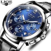 Mens watches top brand LIGE luxury Chronograph Men Sports Quartz Watch Waterproof Leather Men's Wrist watch Relogio Masculino