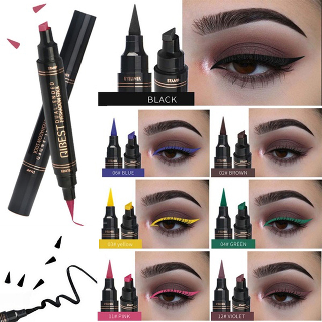 Liquid Eyeliner Stamp Pen Matte Black Colorful Lazy Eyes Make Up Waterproof Quick Dry Blue Green Red Yellow Eye Liner Pencil 1