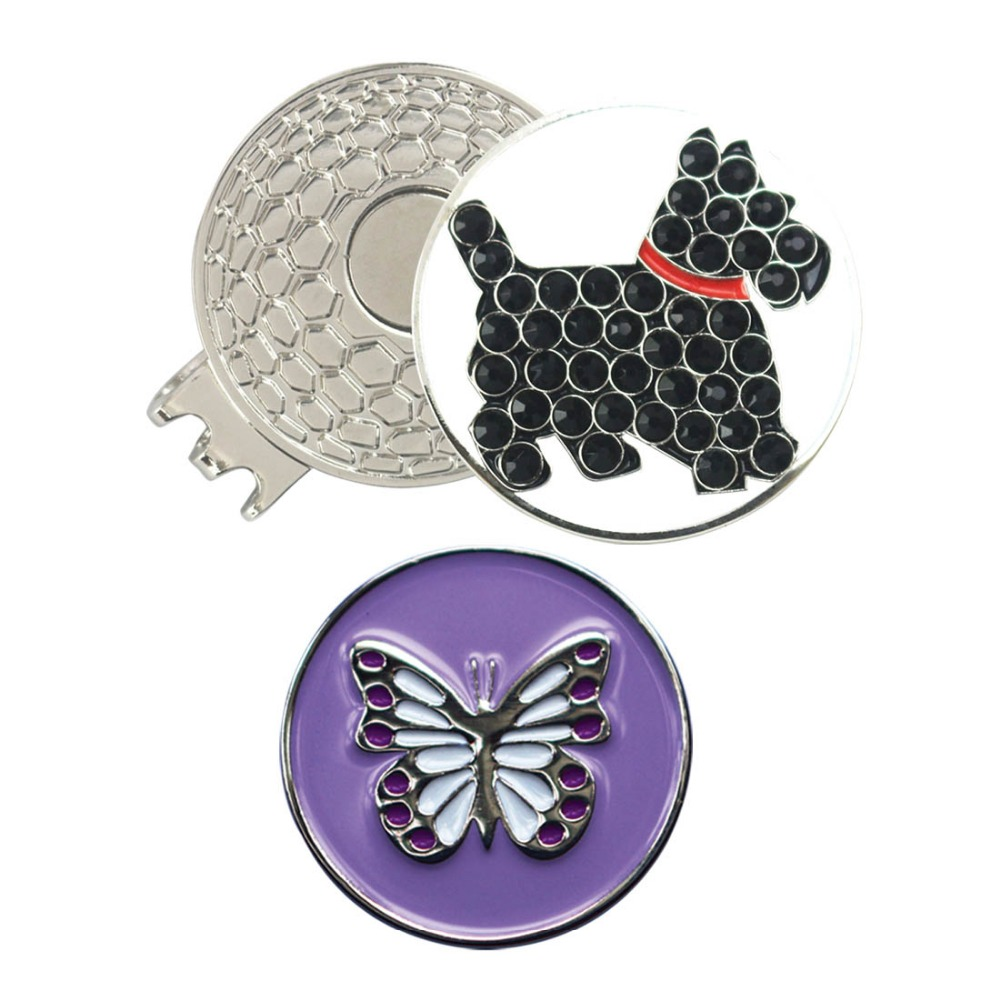 PINMEI Crystal Dog And Butterfly Golf Ball Mark With Magnetic Hat Clips 1pc Cap Clip 2pcs Golf Markers For Lady/Children Golfers
