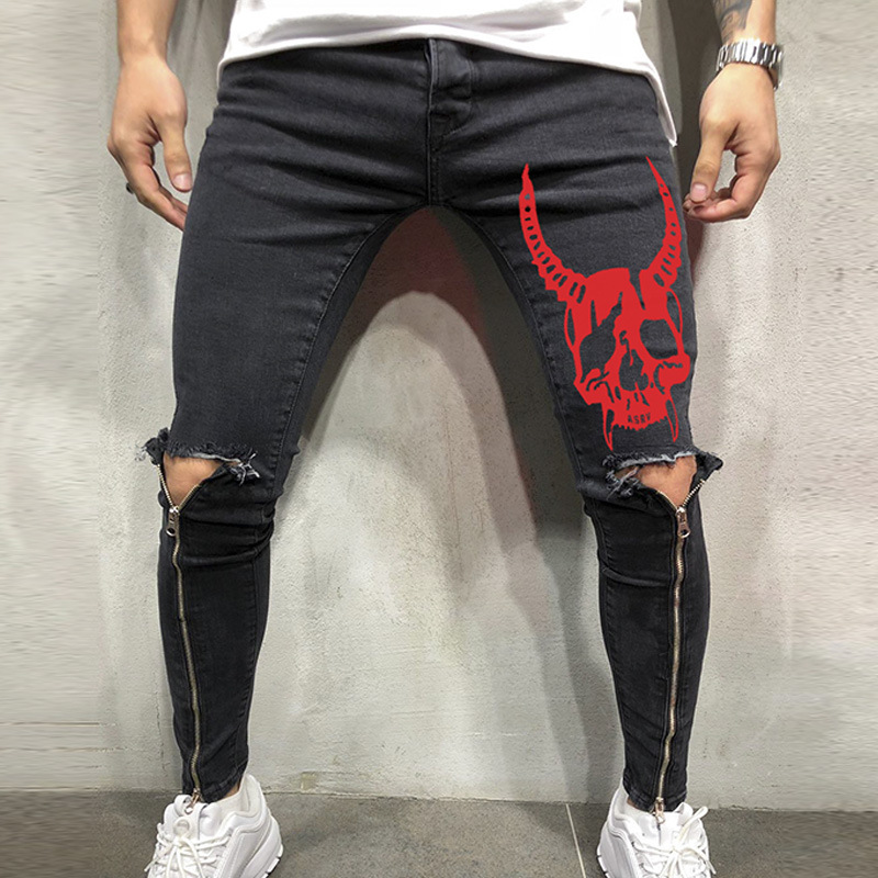 2019 Spring Men's Leisure Hip Hop Pants Knee High Zipper Opening Wears Pencil Trousers With Evil Image & Patch Decoration
