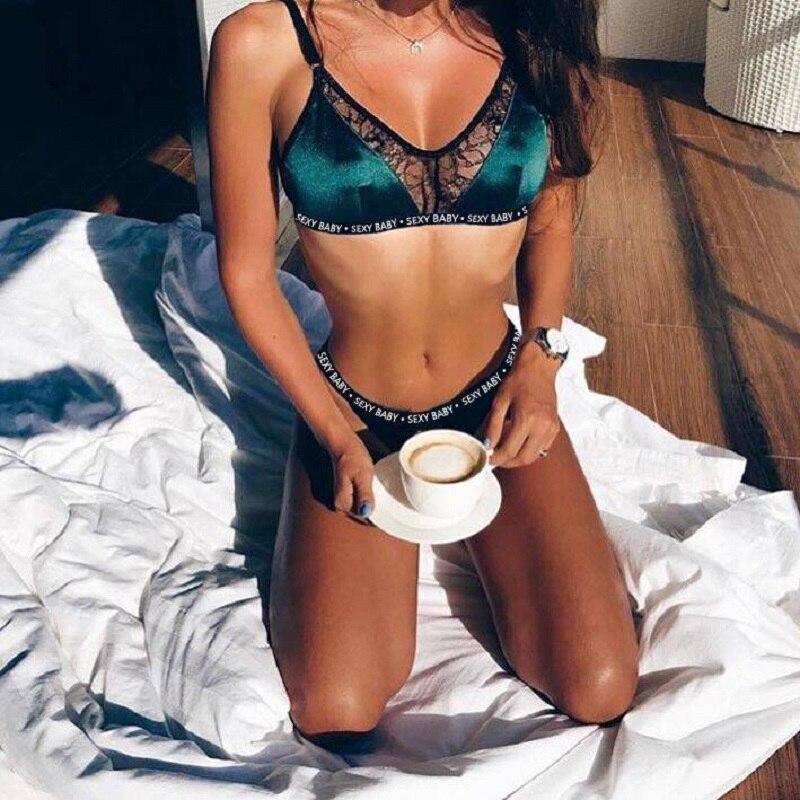 b26ffa10b68631 Sexy Lace Bra Set Women Push Up Bra Hollow Bralette Lingerie Set Seamless  Underwear Temptation Briefs Sets G-String Thong Set