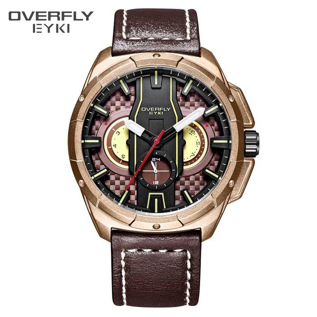 EYKI Brand Men's 3D Big Dial Creative Watch Men Date Display Luminous Pointer Quartz Watches Male Sport Leather Strap Wristwatch