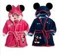2015 новый 6 цвет фланелевые удобные дети пижамы халат парни микки, Девушки минни дети пижамы халат с поясом розничная