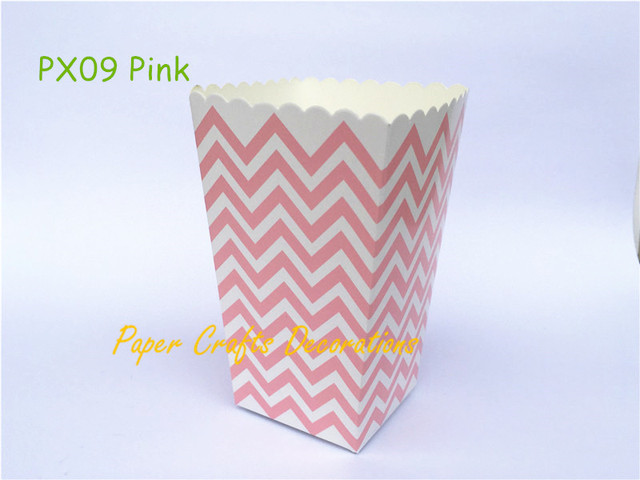 12pcs Lot Small Pink Chevron Party Popcorn Bo Candy Treat Bags Baby Shower Favors