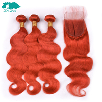Allrun Brazilian Hair Bundles With Lace Closure Orange Red Human Hair 3 Bundles With Closure Body Wave Non Remy Hair Extension