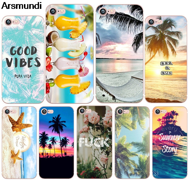 Arsmundi Summer Beach Relax Sea Sun <font><b>Hawaii</b></font> <font><b>Phone</b></font> <font><b>Cases</b></font> for iPhone 4 5C 5S 6S 7 8 Plus X <font><b>Case</b></font> Crystal Clear Soft TPU Cover <font><b>Cases</b></font>