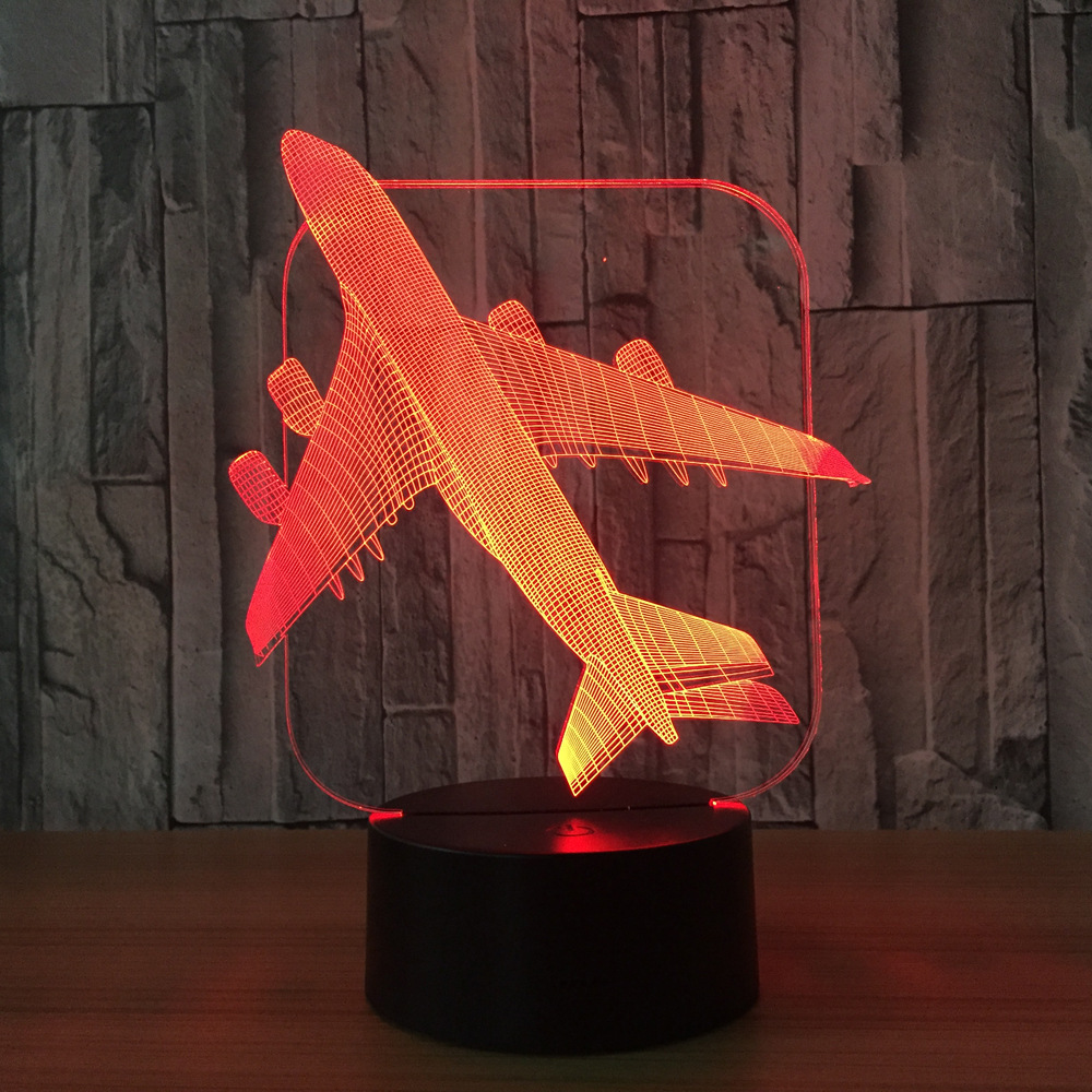 3D Aircraft Warplane Model Creative Night Light Touch Jet Plane Desk Lamp LED Illusion Lamp Bedside Lamp Cool Toy Free Drop Ship
