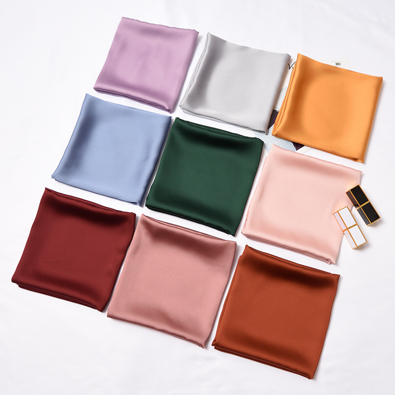 70*70cm Pure Color Professional Small Square Scarf Decoration Headscarf High Quality Elegant Scarf Hair Tie 20 Colors