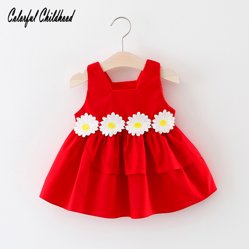 Colorful Childhood Summer Korean High Quality Baby Girl Dress Sleeveless Floral Solid Color Dress Kids Clothes 6m 12m 18m 24m
