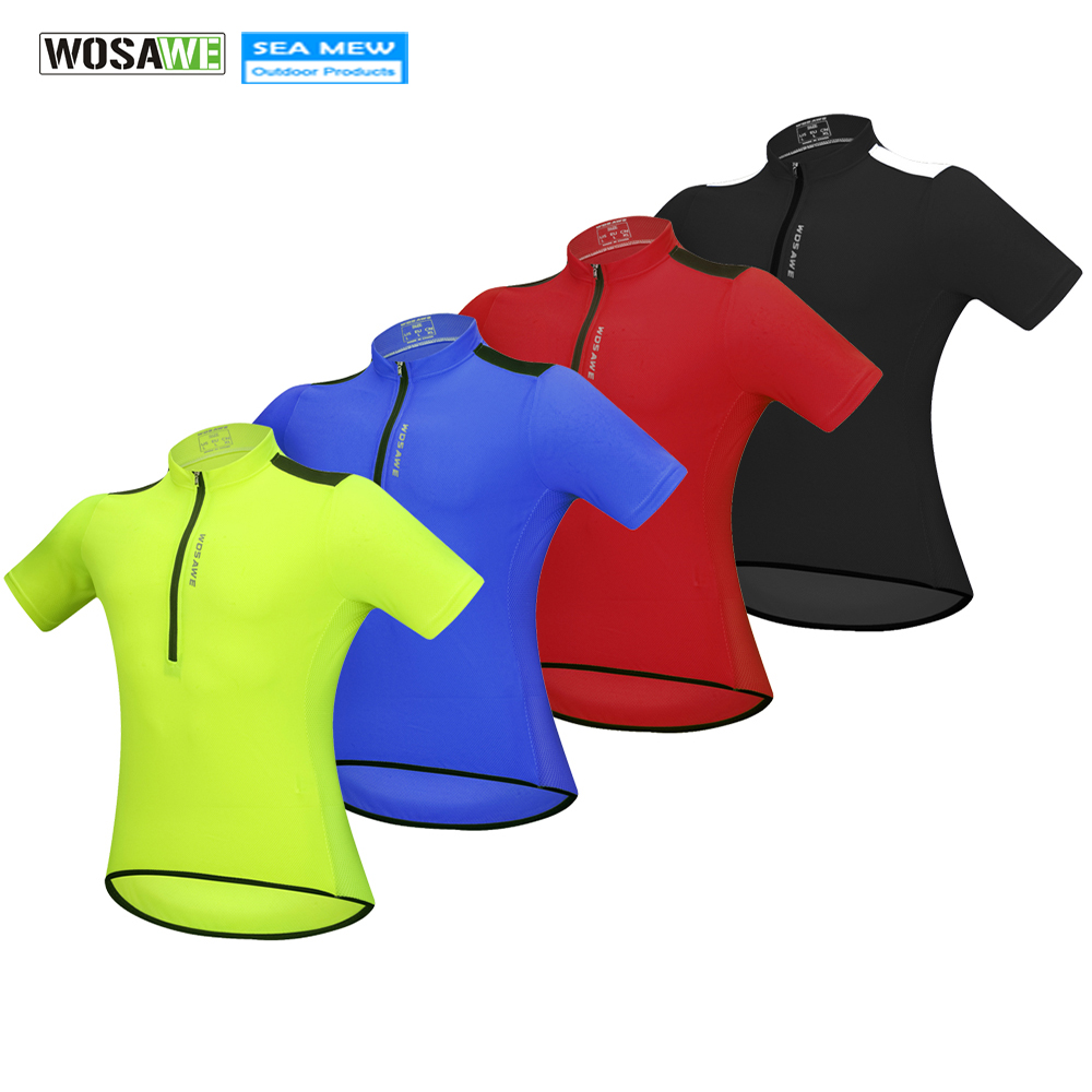 WOSAWE Elastic Cycling Jerseys Roupa Ciclismo Summer Breathable 100% Polyester Bicycle Clothing Solid Color Bike Clothes