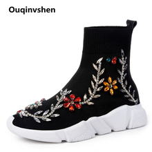 Ouqinvshen Crystal Flower Women Winter Boots Round Toe Fashion Black Knitting Platform Boots String Bead Ankle Women Sneakers