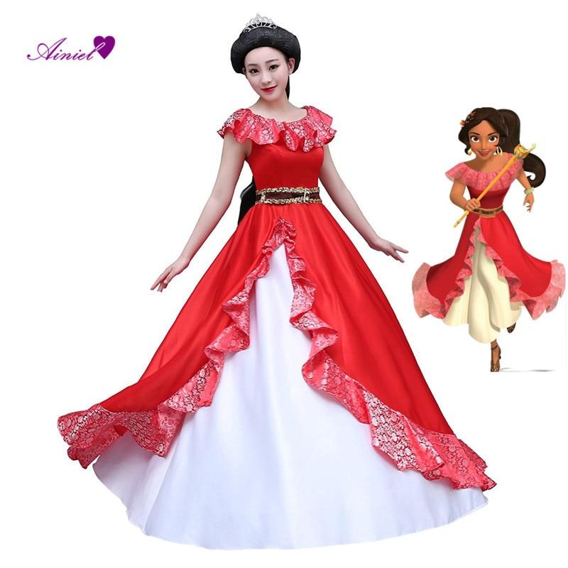 Custom Made  Elena of Avalor Cosplay Costume Princess Dress Hot Cartoon Halloween Women Girls Lovely Red Skirt Custom Made