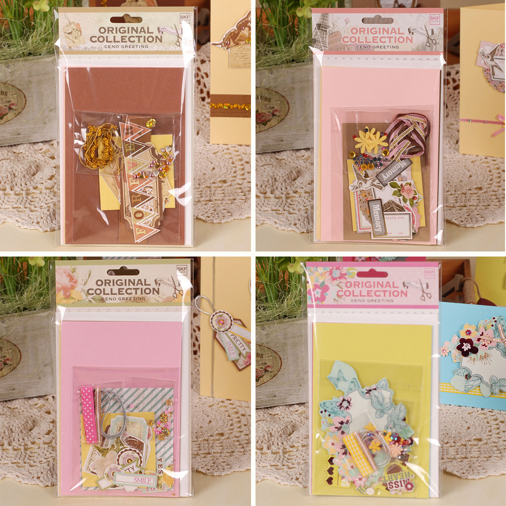 3 Cards+Envelopes of Daily DIY Greeting Card Kit For Kids,Paper Card Craft Set a stylistic study of the language of selected greeting cards