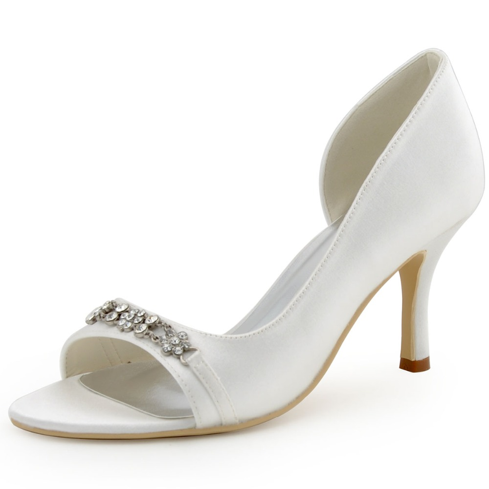 ФОТО EP2083 Women Ivory Prom Party Pumps Med Heels 3'' Wedding Pearls Rhinestones Satin Bridal Shoes