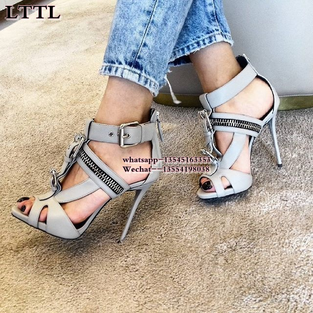 Buckle Zip Open toe Women High platform Pumps gladiator Sandals Big size 33-43 Summer Party Sexy Thin heels Grey Ladies shoes big size 40 41 42 women pumps 11 cm thin heels fashion beautiful pointy toe spell color sexy shoes discount sale free shipping