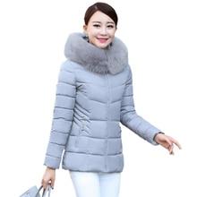 2017 New Women Winter Ultra Light Down Jackets Fur Hooded Collar Warm Down Jacket Woman Slim Solid Outwear Coats Plus Size