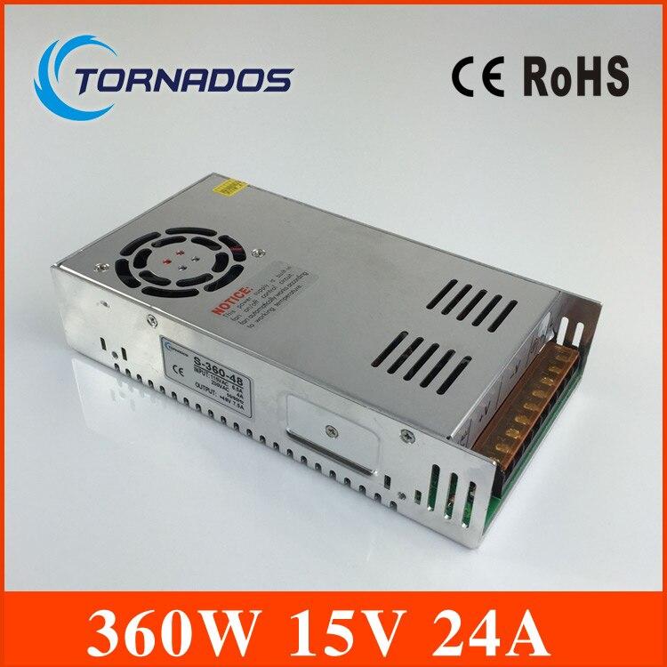 Led driver 15V 24A 360W Single Output ac 110v 220v to dc 15v Switching power supply unit for LED Strip light AC DC Converter