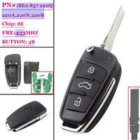 (1PCS )8E0837220Q 8E0 837 220A 220R 220N ID8e Chip HU66 315Mhz Remote Key Car Remote Folding For Audii A4 TT Q7